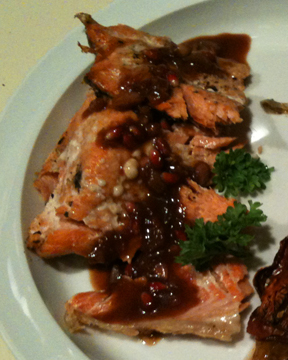 salmon with pomegranate glaze