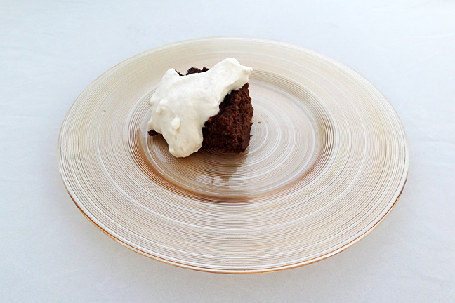 brownie with whipped coconut cream