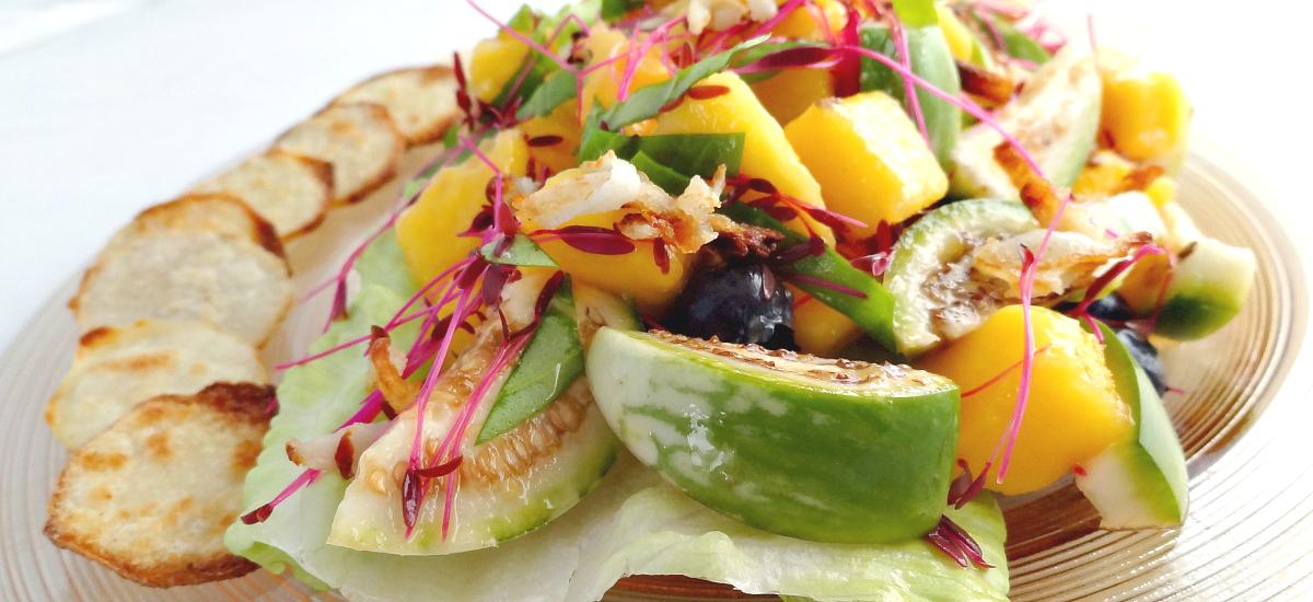 Eggplant, Taro Root, Mango and Basil Salad